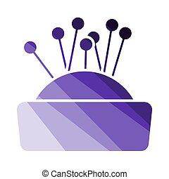 Pin Cushion Icon. Flat Color Ladder Design. Vector Illustration.