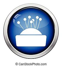 Pin cushion icon. Glossy button design. Vector illustration.