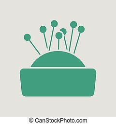 Pin cushion icon. Gray background with green. Vector illustration.