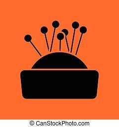 Pin cushion icon. Orange background with black. Vector illustration.