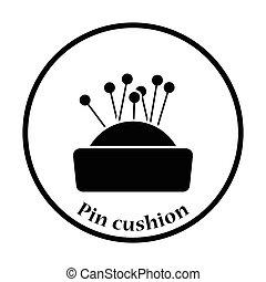 Pin cushion icon. Thin circle design. Vector illustration.
