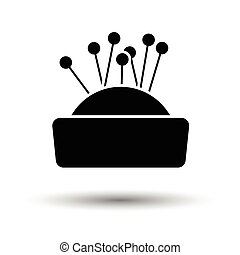 Pin cushion icon. White background with shadow design. Vector illustration.