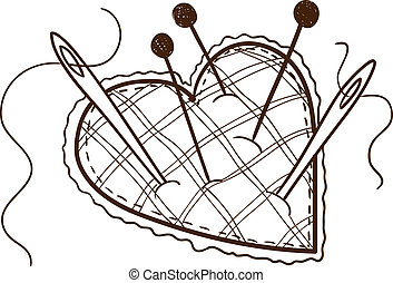 Pin cushion in a heart shape - Isolated sketch vector...