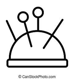 Pin cushion, needle, pin, sewing fully editable vector icon