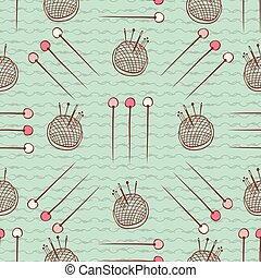 Pin Cushion Needles seamless pattern. Hand drawn flat style sewing supplies vector illustration. For handmade fabric prints, trendy background textures, creative craft packaging or scrapbook papers.