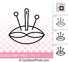 Pin Cushion thin line icon. Outline web sign of pillow. Needle linear pictogram with different stroke width. Simple vector symbol, transparent background. Pin Cushion editable stroke icon without fill