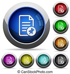 Pin document round glossy buttons