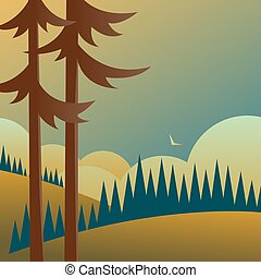 pin, fields., forêts, arbres, paysage