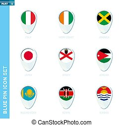 Pin flag set, map location icon in blue colors