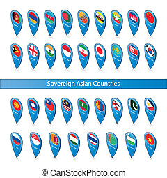 Pin flags of the Sovereign Asian Countries