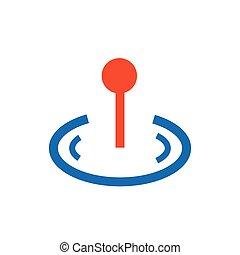 pin Flat icon and Logo  blue, orange