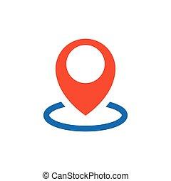 pin Flat icon and Logo design blue, orange