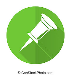 pin green flat icon