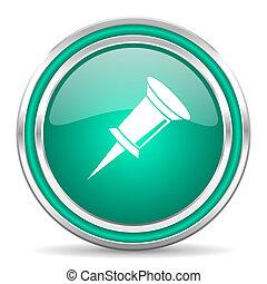 pin green glossy web icon