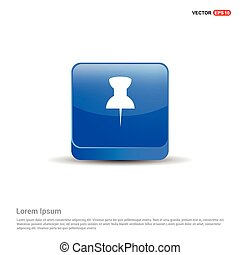 pin icon - 3d Blue Button