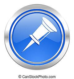 pin icon, blue button