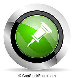 pin icon, green button