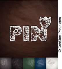 PIN icon. Hand drawn vector illustration