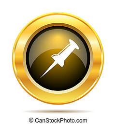 Pin icon. Internet button on white background.