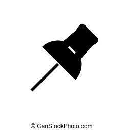 pin icon, vector illustration, black sign on isolated background