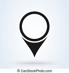 Pin icon vector. Location sign Isolated on white background. Navigation map,
