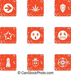 Pin icons set, grunge style - Pin icons set. Grunge set of 9...