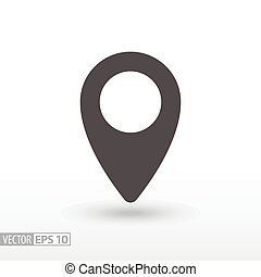 Pin location - flat icon - Pin location flat icon. Sign pin...