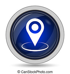 Pin location icon. Internet button on white background.