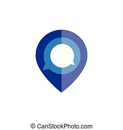 pin location with chat message logo icon vector