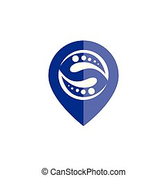 pin location with dna people logo icon vector