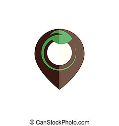 pin location with leaf logo icon vector