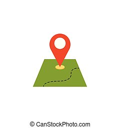 pin location with map flat icon