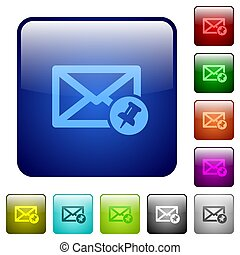 Pin mail color square buttons