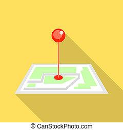 Pin map icon, flat style