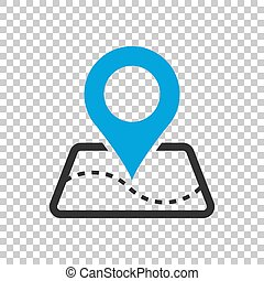 Pin map icon in flat style. Gps navigation vector illustration on isolated background. Target destination business concept.