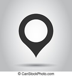 Pin map icon in flat style. Gps navigation vector illustration on white background. Target destination business concept.