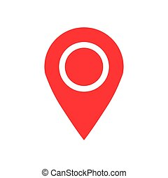 Pin map icon in flat style. Gps navigation vector illustration on white isolated background. Target destination business concept.