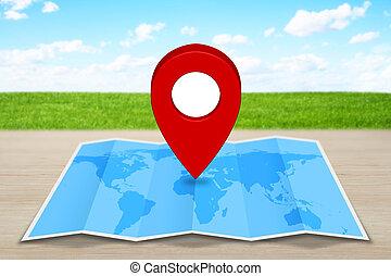 Pin map iconon a blue map