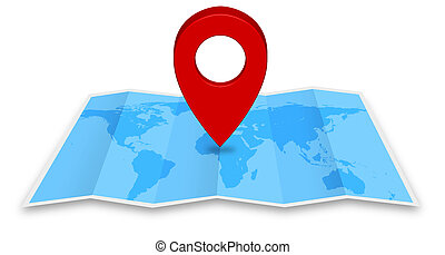 Pin map icon on a blue map - Pin map marker pointer icon on...