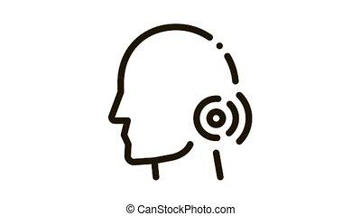 Pin Nape Pain Man Silhouette Headache animated black icon on white background