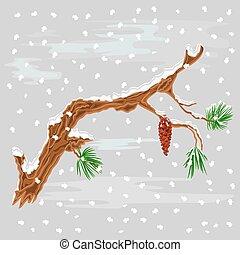 pin, noël, neige, branche