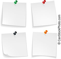 Pin notes. White note papers curled corner with pinned colored push button office board announcement message, realistic vector set