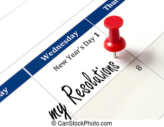 Pin on calendar pointing new year resolutions