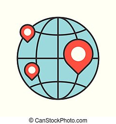 pin on globe, location or branch of business icon, editable stroke outline