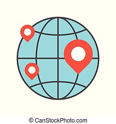 pin on globe, location or branch of business icon