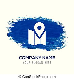 Pin on map icon - Blue watercolor background