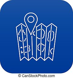 Pin on the map icon blue vector