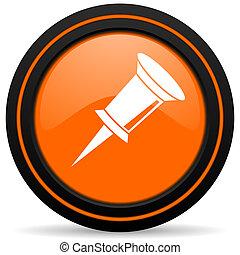 pin orange glossy web icon on white background