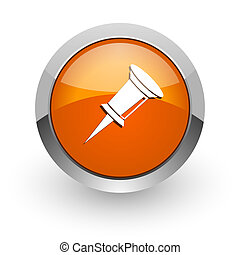 pin orange glossy web icon