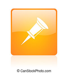 pin orange square glossy web icon
